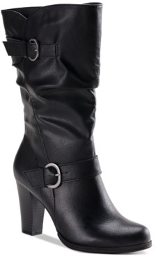 Style&Co. Style & Co Sachi Block-Heel Mid-Shaft Wide Calf Boots, Created for Macy's Women's Shoes