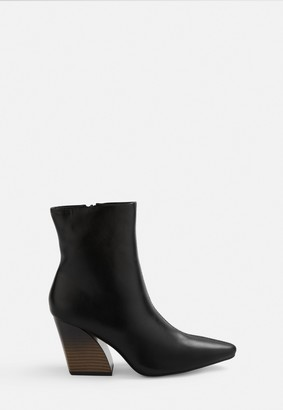Missguided Black Curved Wooden Stack Heeled Boots
