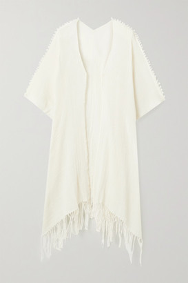 CARAVANA Holom Fringed Cotton-gauze Cape
