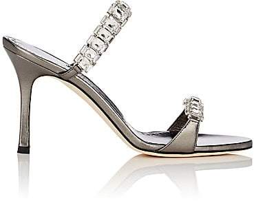 Manolo Blahnik Women's Dallifac Metallic Leather Sandals - Dark Gray