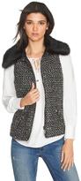 White House Black Market Tweed Faux Fur Collar Vest