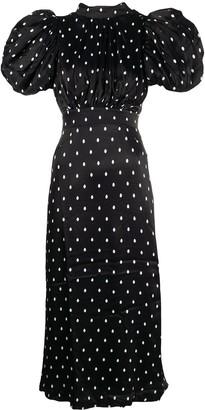 Rotate by Birger Christensen Puffed Sleeves Polka Dot Print Dress