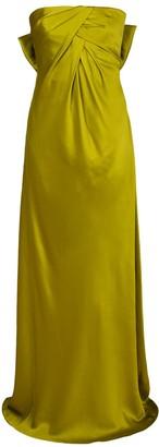 Alberta Ferretti Strapless Charmeuse Bow Back Gown
