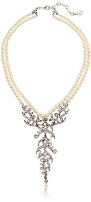 Ben-Amun Jewelry Pearl and Crystal Deco Pendant Drop Necklace for Bridal Wedding Anniversary Pearl Strand