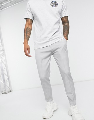 Mauvais pinstripe trousers with logo webbed belt in grey