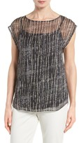 Eileen Fisher Women's Streaky Plaid Crinkled Silk Top