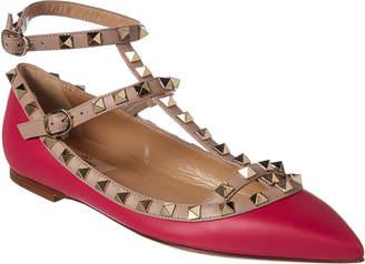 Valentino Rockstud Caged Leather Ballerina Flat