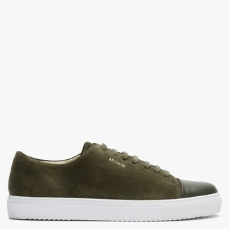 Axel Arigato Mens Leather Cap Toe Military Green Suede Low Top Trainers