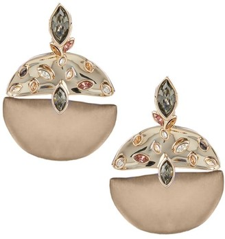 Alexis Bittar Crumpled 10K Goldplated, Lucite & Crystal Studded Drop Clip-On Earrings