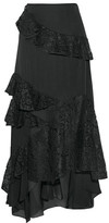 Sachin + Babi Plie Tiered Ruffled Corded Lace And Silk Crepe De Chine Maxi Skirt