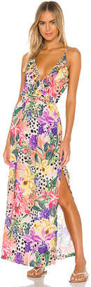 Luli Fama Shocking Florals Spaghetti Strap Ruffle Long Dress