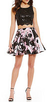 Jodi Kristopher Lace to Blurred Floral Print Two-Piece Dress