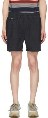 Beams Black and Grey Shadow Check Shorts