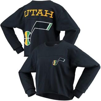 G Iii Women's G-III Sports by Carl Banks Navy Utah Jazz Pressbox Oversized Raw Edge Long Sleeve T-Shirt