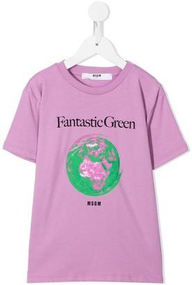 Msgm Kids Planet crew-neck T-shirt