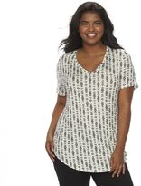 Mudd Juniors' Plus Size V-Neck Shirttail Tunic Tee