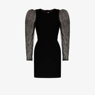 HANEY Womens Black Fiona Flocked Tulle Mini Dress