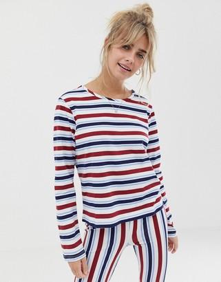 Asos DESIGN mix & match stripe long sleeve pyjama jersey tshirt