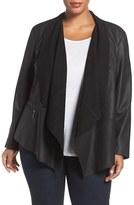 Bernardo Plus Size Women's Drape Front Leather Jacket