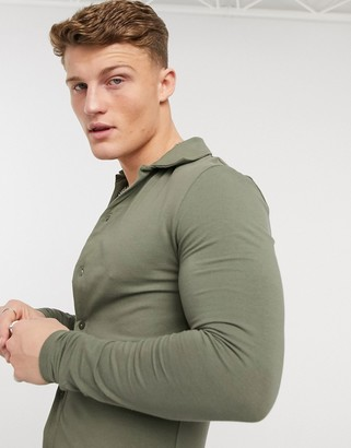 ASOS DESIGN organic muscle fit long sleeve jersey shirt in washed khaki