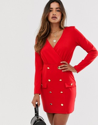 UNIQUE21 shift dress with gold buttons-Red