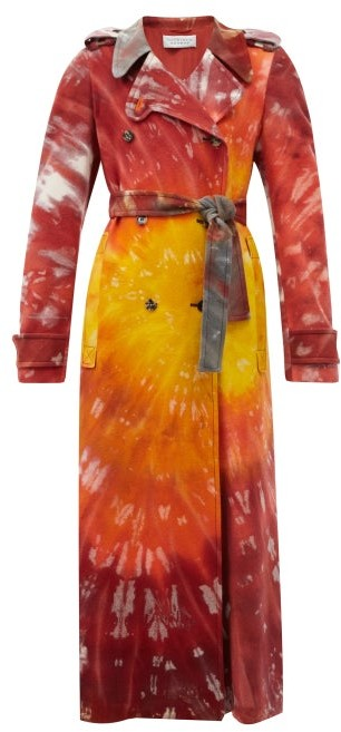 Thumbnail for your product : Gabriela Hearst Michael Tie-dye Cashmere Trench Coat - Red Multi