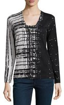 Neiman Marcus Superfine Skyfall Button-Front Cardigan