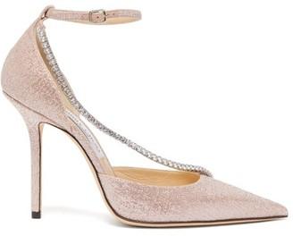 Jimmy Choo Talika Crystal-strap Lame Pumps - Womens - Pink