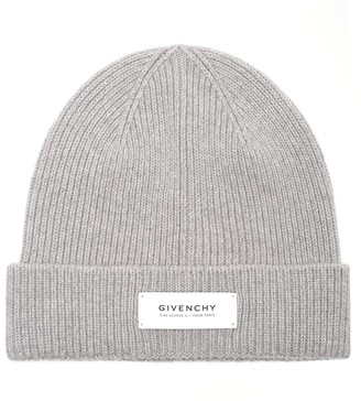 Givenchy Logo Patch Ribbed Beanie