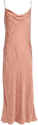 Joie Marcenna B Draped Satin-jacquard Midi Slip Dress
