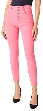 J Brand Lillie High-Rise Ankle Skinny Jeans in Pink Coral