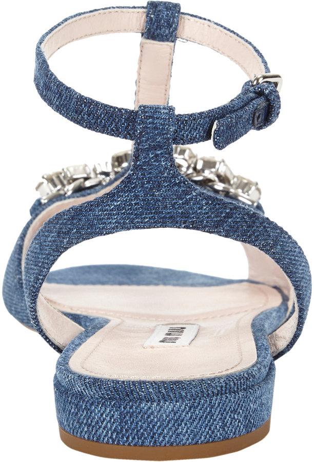 Miu Miu Crystal-detailed T-strap Sandals