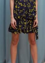 Goen.j Floral Printed Ruffle Wrap Mini Skirt Navy