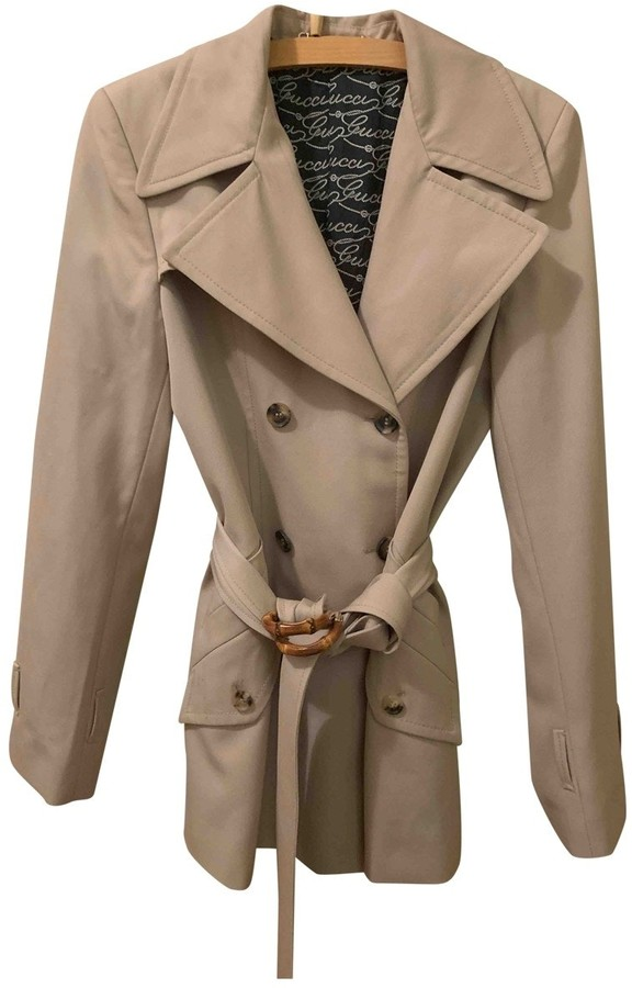 Gucci Beige Wool Trench Coat for Women Vintage