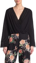 Angie Swiss Dot Floral Lace Surplice Top