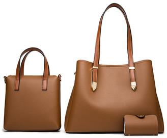 Ella & Elly Women's Handbags Brown - Brown Shoulder Bag Set