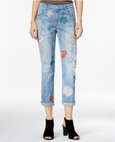 Jessica Simpson Embroidered Medium Blue Wash Cuffed Jeans