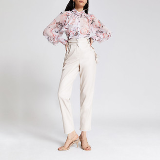 River Island White faux leather tassel fitted trousers