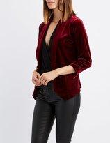 Charlotte Russe Velvet Ruched Sleeve Blazer