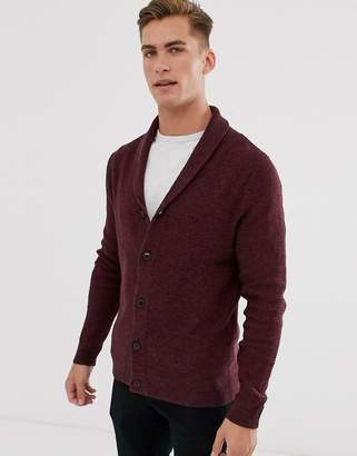 Selected organic cotton knitted shawl cardigan in burgundy-Red