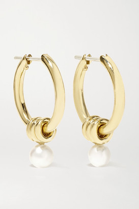 Spinelli Kilcollin Ara 18-karat Gold Pearl Hoop Earrings