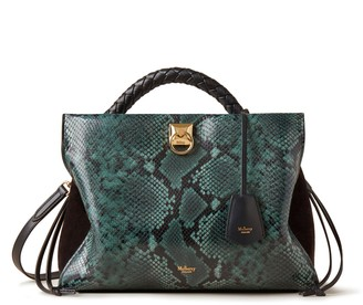 Mulberry Iris Green and Black Python Print Leather and Suede