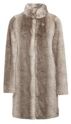 Dorothy Perkins Womens Cream Funnel Collar Faux Fur Coat, Cream