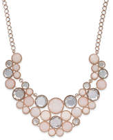INC International Concepts Rose Gold-Tone Round Stone Frontal Bib Necklace