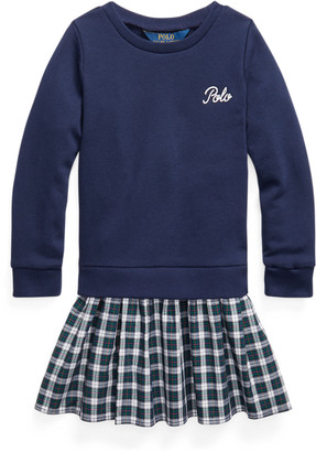 Ralph Lauren Plaid-Skirt Sweatshirt Dress