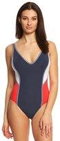 Tommy Hilfiger Strappy Stripes VNeck One Piece Swimsuit - 8154042