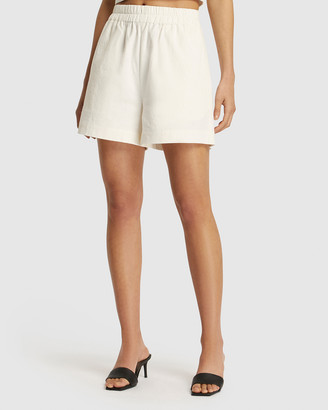 FRIEND of AUDREY - Women's White High-Waisted - Niccola Linen Shorts - Size One Size, 6 at The Iconic