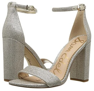 Sam Edelman Yaro Ankle Strap Sandal Heel (Peach Fizz Patent Stone Croco) Women's Dress Sandals