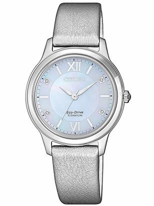 Citizen Womens Analogue Quartz Watch with Leather Strap EM0720-18D