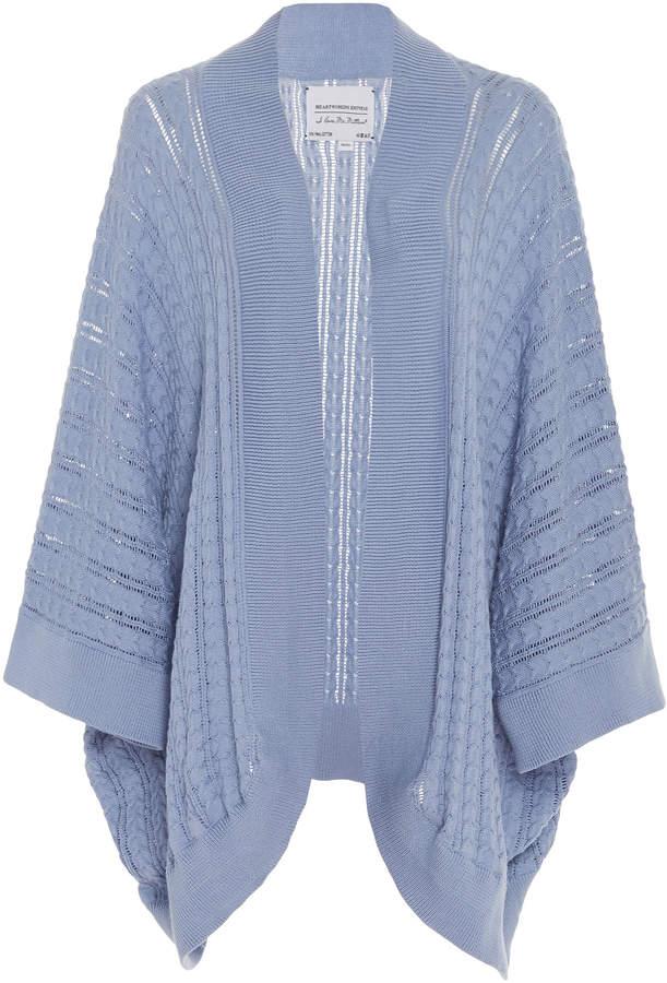 I Love Mr Mittens Cable-Knit Cotton Kimono Sweater